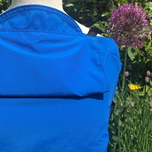 example of a blue integra solar baby carrier waterproof